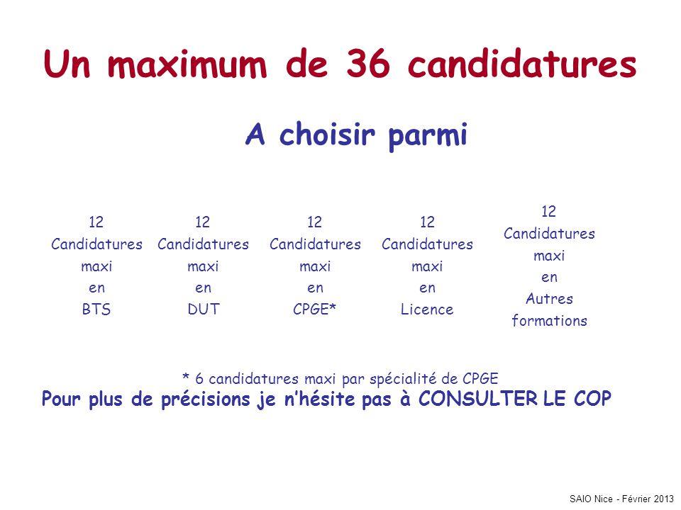 SAIO Nice - Février 2013 Un maximum de 36 candidatures A choisir parmi * 6 candidatures maxi par spécialité de CPGE Pour plus de précisions je n'hésit