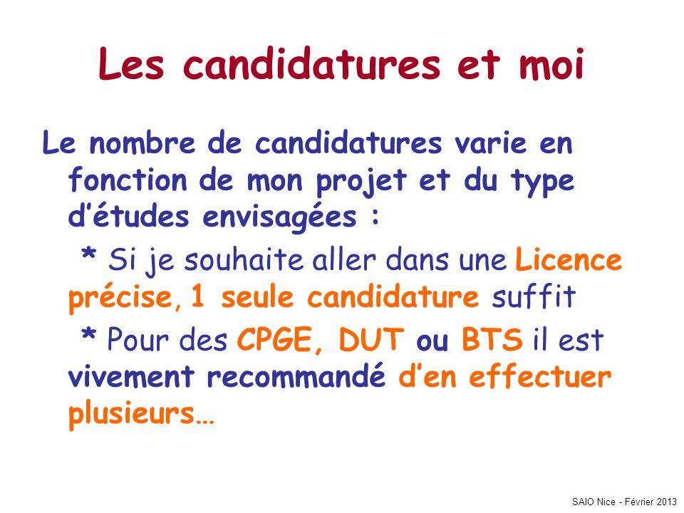 SAIO Nice - Février 2013 Les candidatures et moi Le nombre de candidatures varie en fonction de mon projet et du type d'études envisagées : * Si je so