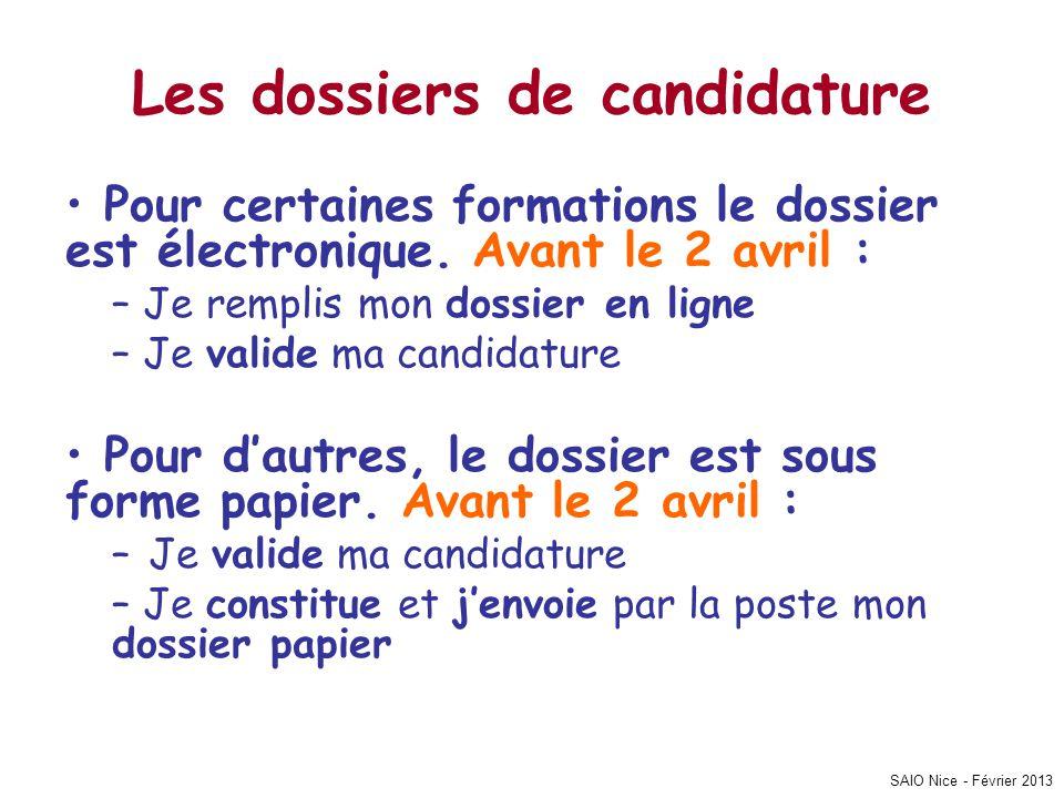 SAIO Nice - Février 2013 Les dossiers de candidature • Pour certaines formations le dossier est électronique. Avant le 2 avril : – Je remplis mon doss