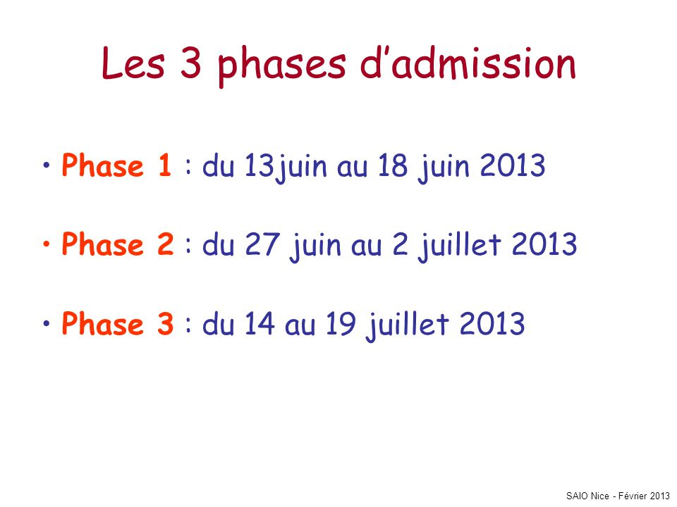 SAIO Nice - Février 2013 Les 3 phases d'admission • Phase 1 : du 13juin au 18 juin 2013 • Phase 2 : du 27 juin au 2 juillet 2013 • Phase 3 : du 14 au