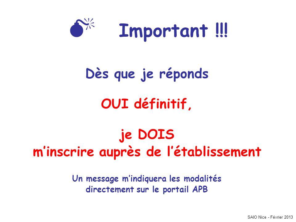 SAIO Nice - Février 2013  Important !!! Dès que je réponds OUI définitif, je DOIS m'inscrire auprès de l'établissement Un message m'indiquera les mod