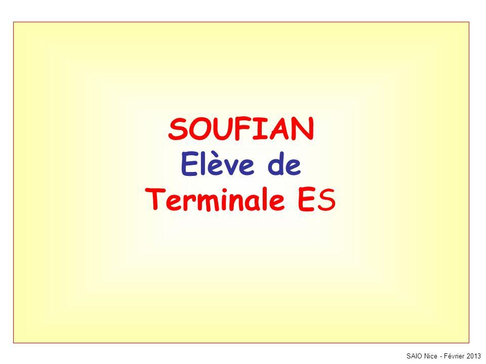 SAIO Nice - Février 2013 SOUFIAN Elève de Terminale ES