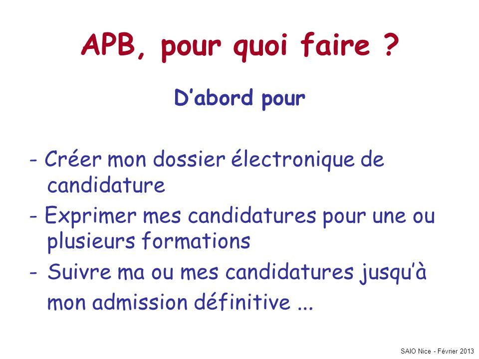SAIO Nice - Février 2013 APB, pour quoi faire ? D'abord pour - Créer mon dossier électronique de candidature - Exprimer mes candidatures pour une ou p