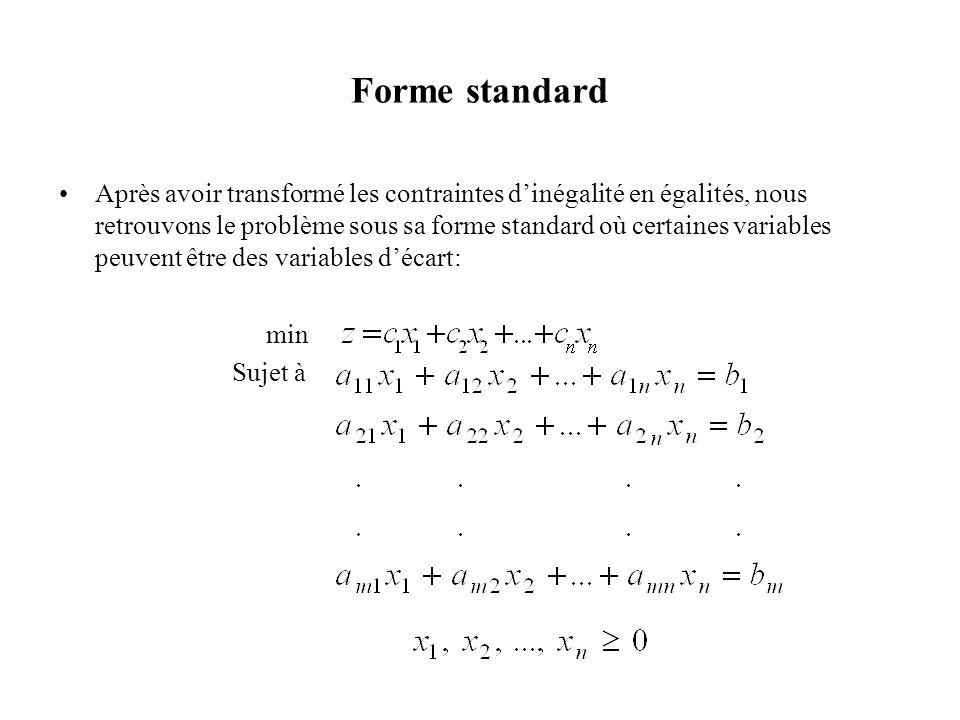 Forme standard •Après avoir transformé les contraintes d'inégalité en égalités, nous retrouvons le problème sous sa forme standard où certaines variab