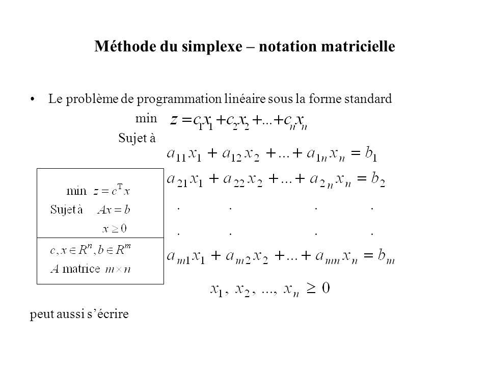 •Le problème de programmation linéaire sous la forme standard min Sujet à peut aussi s'écrire