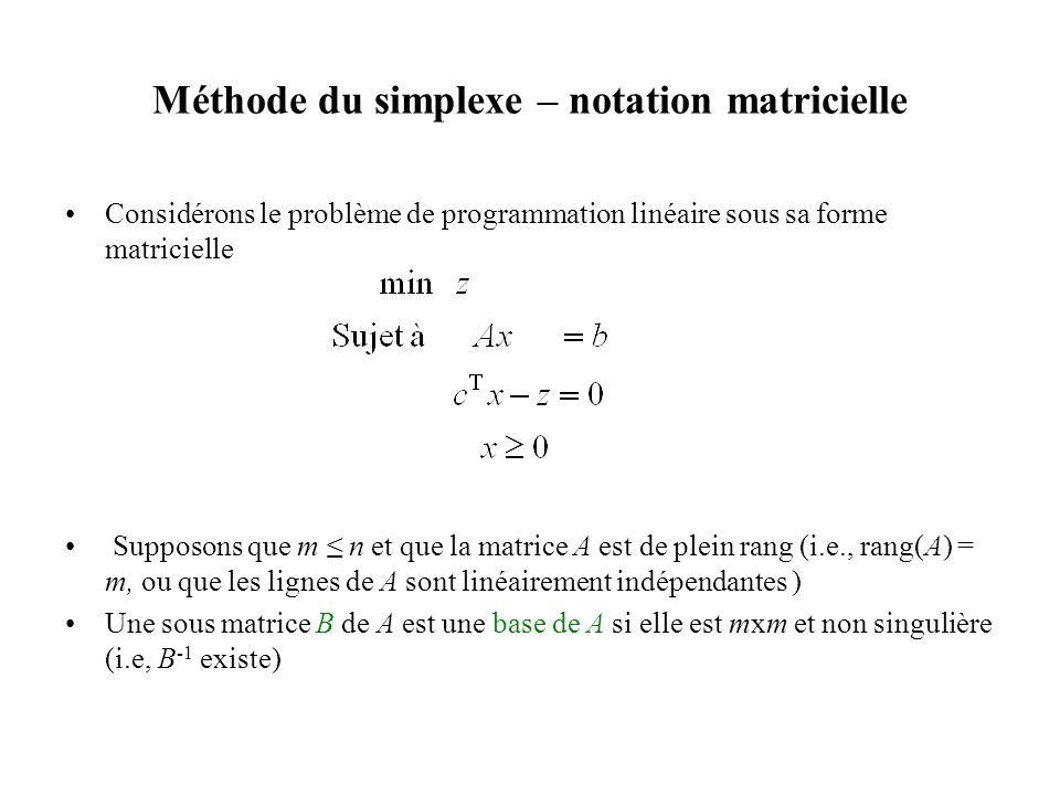 Méthode du simplexe – notation matricielle •Considérons le problème de programmation linéaire sous sa forme matricielle • Supposons que m ≤ n et que l