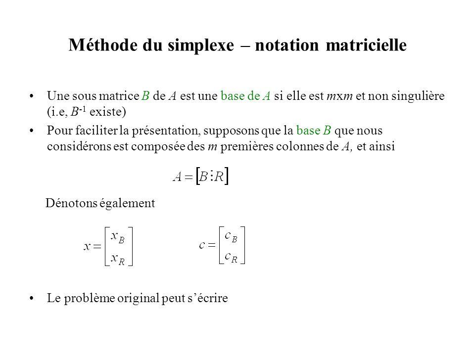 Méthode du simplexe – notation matricielle •Une sous matrice B de A est une base de A si elle est mxm et non singulière (i.e, B -1 existe) •Pour facil