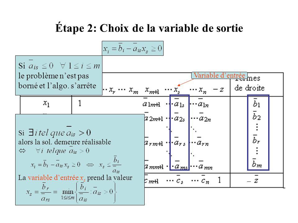 Étape 2: Choix de la variable de sortie Variable d'entrée Si le problème n'est pas borné et l'algo. s'arrête Si alors la sol. demeure réalisable  La