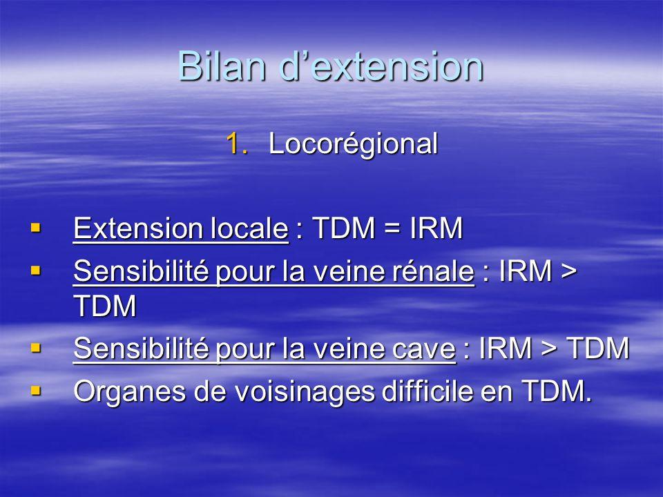 Bilan d'extension 1.Locorégional  Extension locale : TDM = IRM  Sensibilité pour la veine rénale : IRM > TDM  Sensibilité pour la veine cave : IRM