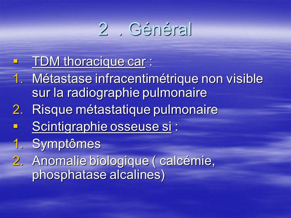2. Général  TDM thoracique car : 1.Métastase infracentimétrique non visible sur la radiographie pulmonaire 2.Risque métastatique pulmonaire  Scintig
