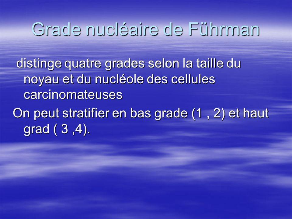 Grade nucléaire de Führman distinge quatre grades selon la taille du noyau et du nucléole des cellules carcinomateuses distinge quatre grades selon la