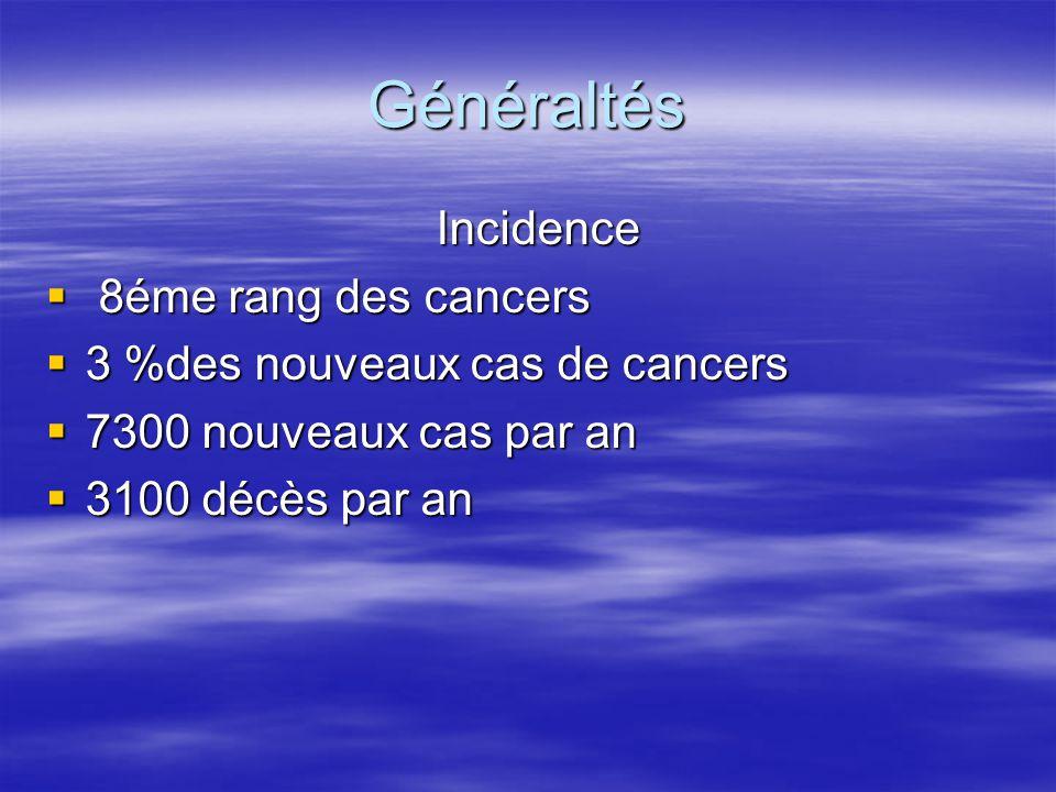 Généraltés Incidence Incidence  8éme rang des cancers  3 %des nouveaux cas de cancers  7300 nouveaux cas par an  3100 décès par an