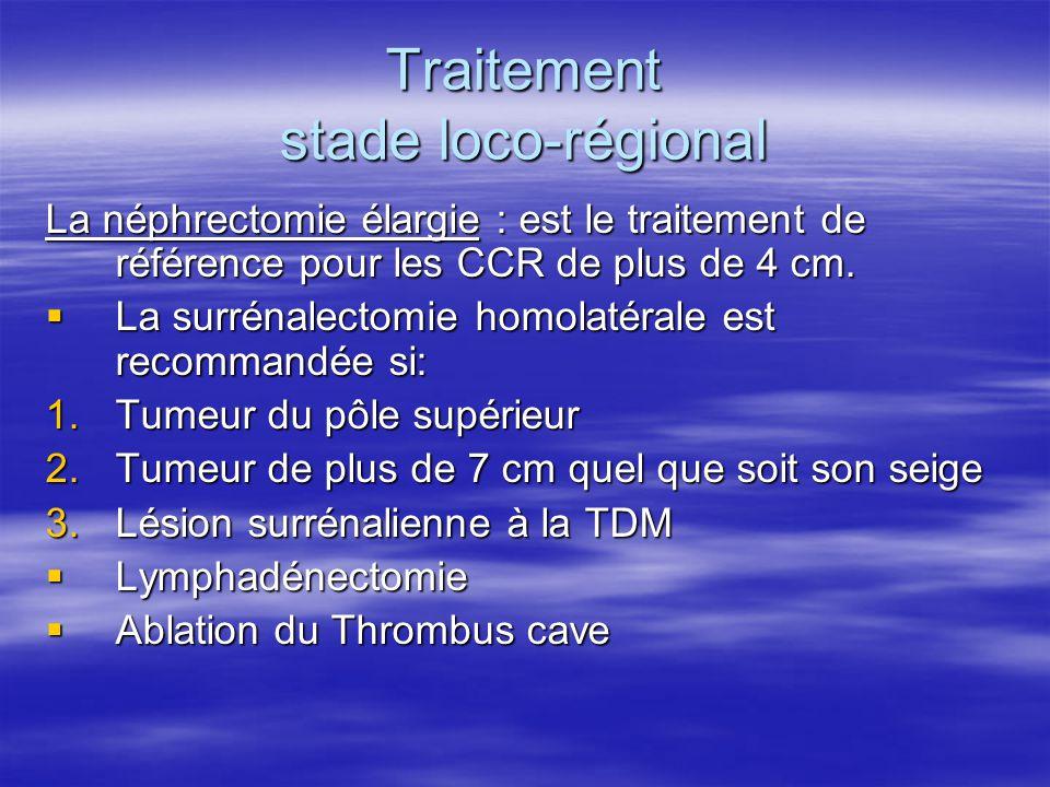 Traitement stade loco-régional La néphrectomie élargie : est le traitement de référence pour les CCR de plus de 4 cm.  La surrénalectomie homolatéral