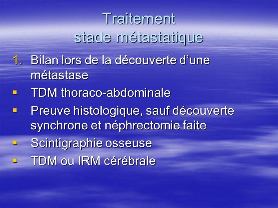 Traitement stade métastatique 1.Bilan lors de la découverte d'une métastase  TDM thoraco-abdominale  Preuve histologique, sauf découverte synchrone