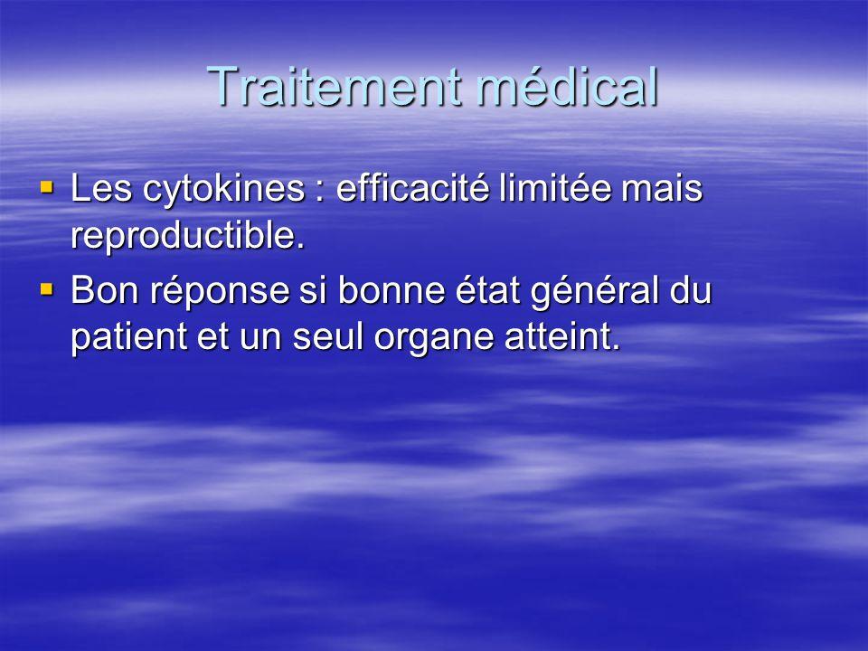 Traitement médical  Les cytokines : efficacité limitée mais reproductible.  Bon réponse si bonne état général du patient et un seul organe atteint.