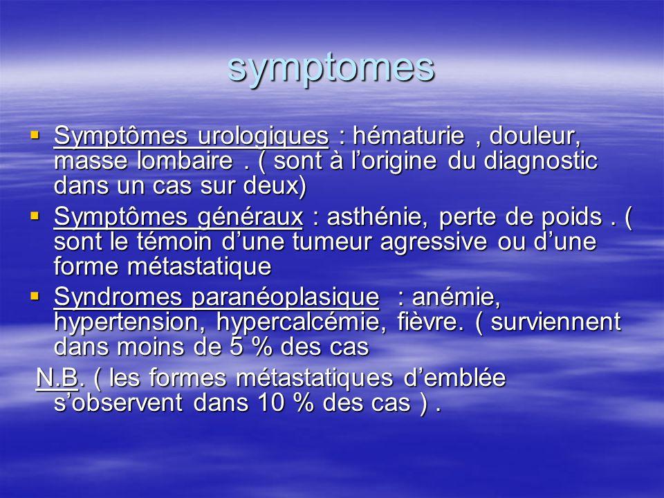 symptomes  Symptômes urologiques : hématurie, douleur, masse lombaire. ( sont à l'origine du diagnostic dans un cas sur deux)  Symptômes généraux :
