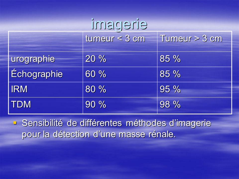 imagerie  Sensibilité de différentes méthodes d'imagerie pour la détection d'une masse rénale. tumeur < 3 cm Tumeur > 3 cm urographie 20 % 85 % Échog