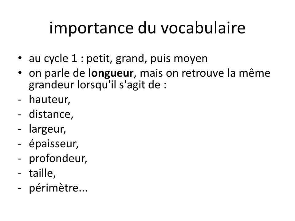 importance du vocabulaire • au cycle 1 : petit, grand, puis moyen • on parle de longueur, mais on retrouve la même grandeur lorsqu il s agit de : -hauteur, -distance, -largeur, -épaisseur, -profondeur, -taille, -périmètre...