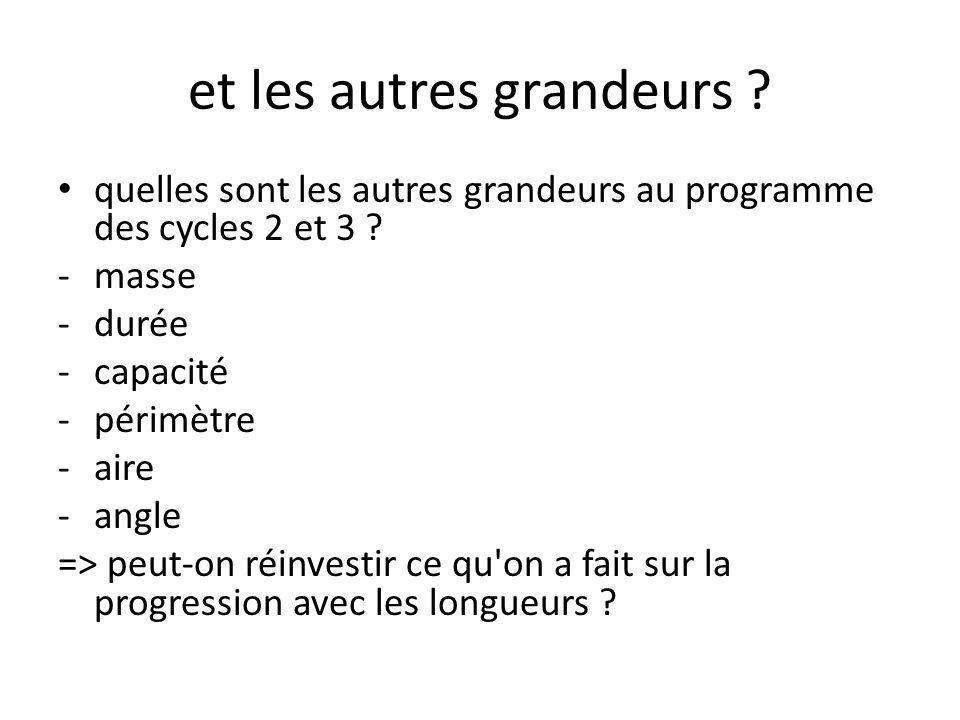 et les autres grandeurs .• quelles sont les autres grandeurs au programme des cycles 2 et 3 .