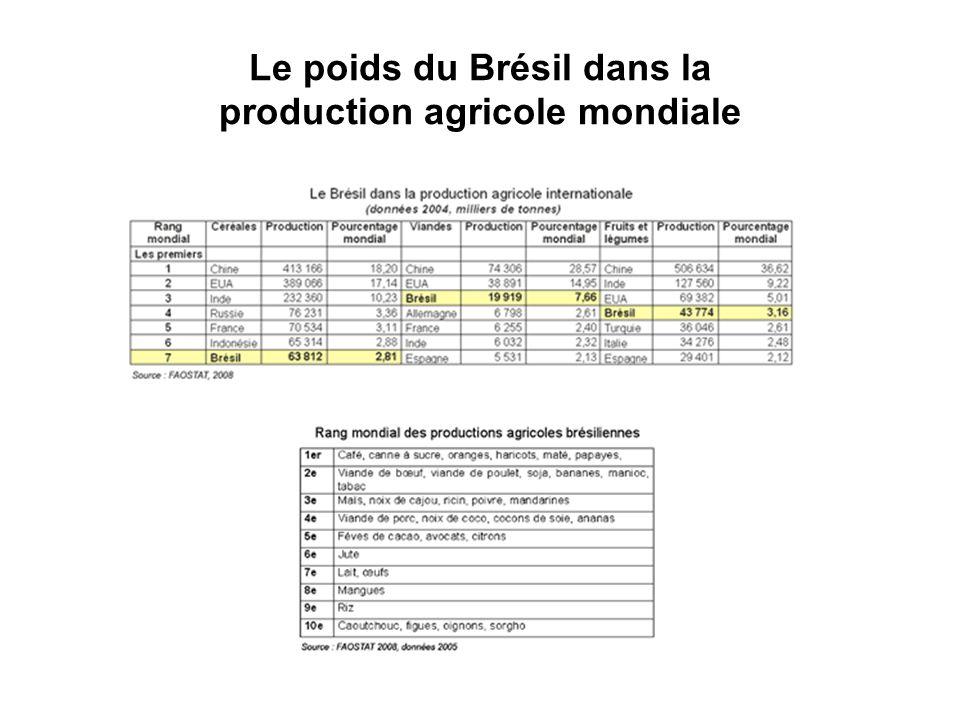 Le poids du Brésil dans la production agricole mondiale
