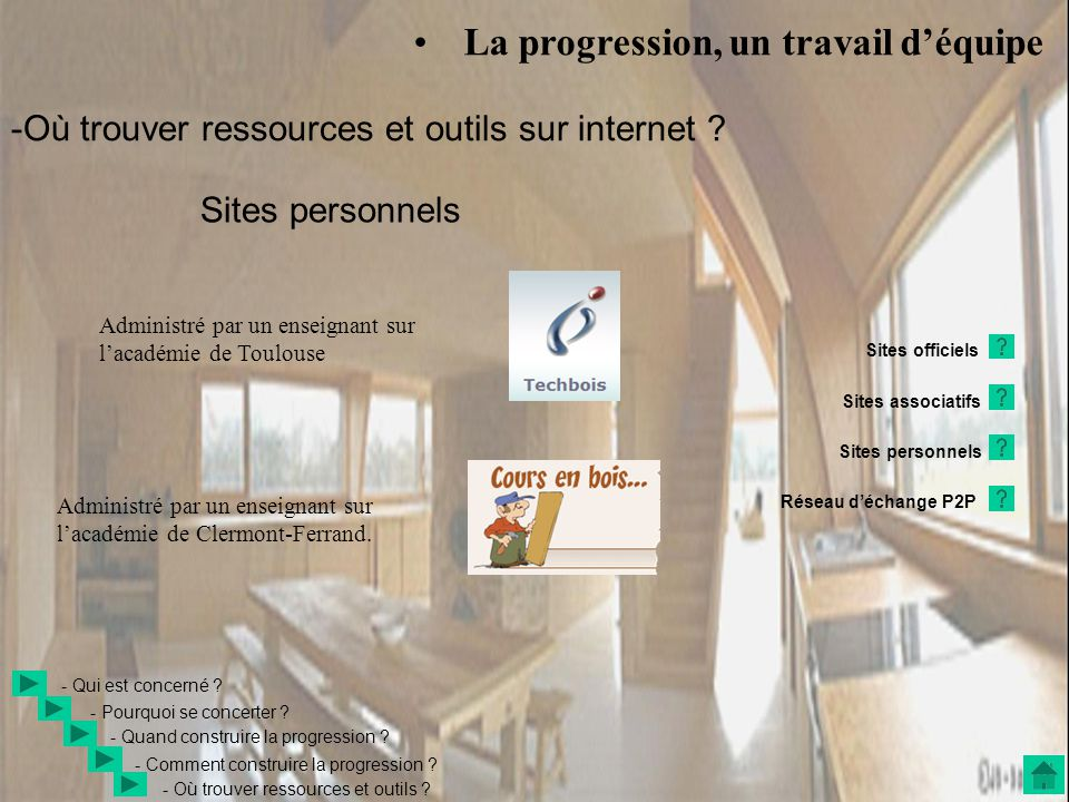 • La progression, un travail d'équipe Sites personnels - Quand construire la progression .