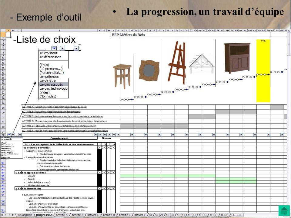 • La progression, un travail d'équipe -Liste de choix - Exemple d'outil