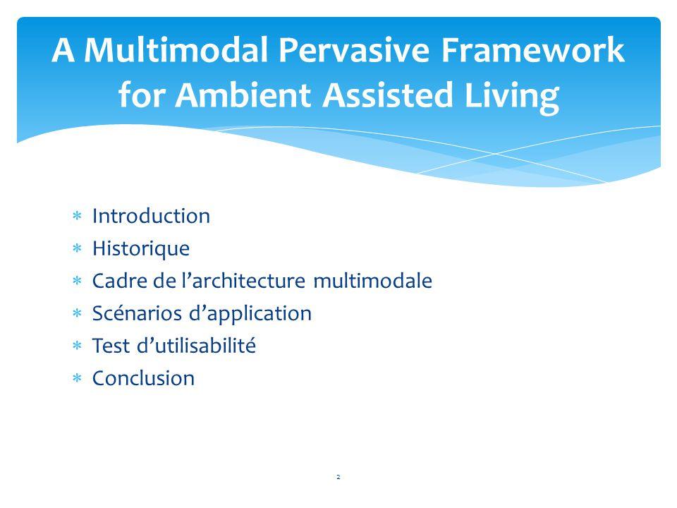 Introduction  Historique  Cadre de l'architecture multimodale  Scénarios d'application  Test d'utilisabilité  Conclusion A Multimodal Pervasive