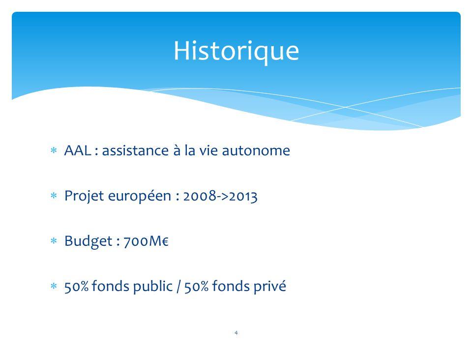 AAL : assistance à la vie autonome  Projet européen : 2008->2013  Budget : 700M€  50% fonds public / 50% fonds privé Historique 4