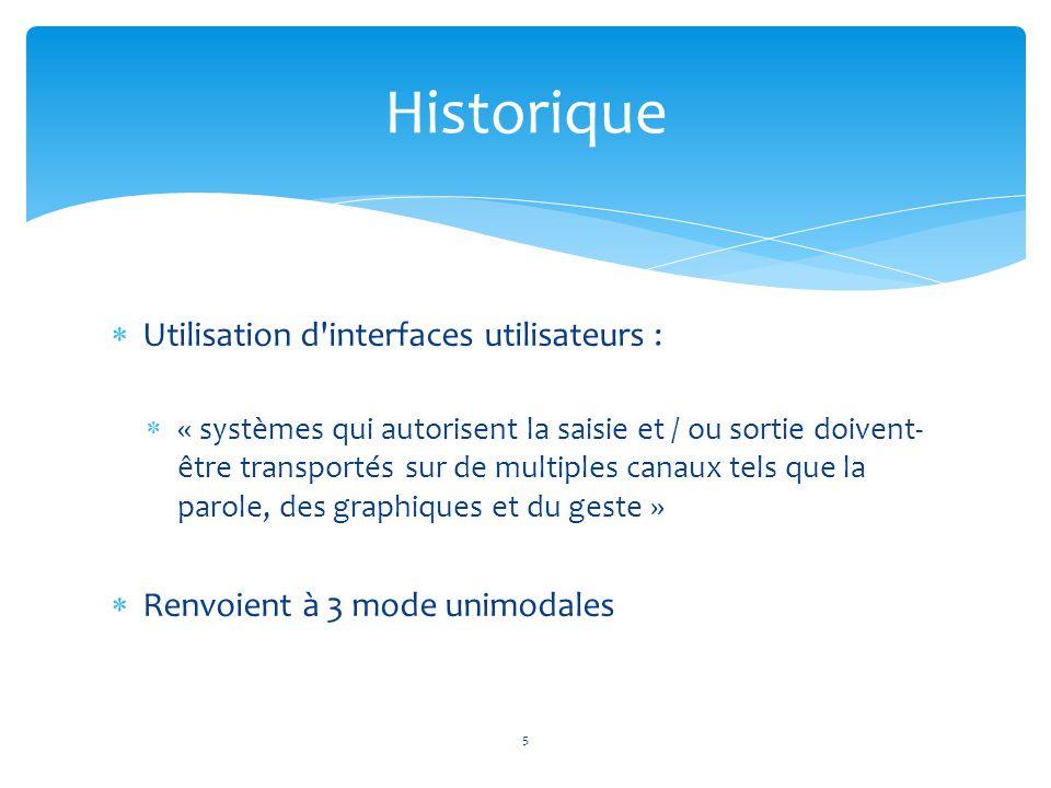  Utilisation d'interfaces utilisateurs :  « systèmes qui autorisent la saisie et / ou sortie doivent- être transportés sur de multiples canaux tels