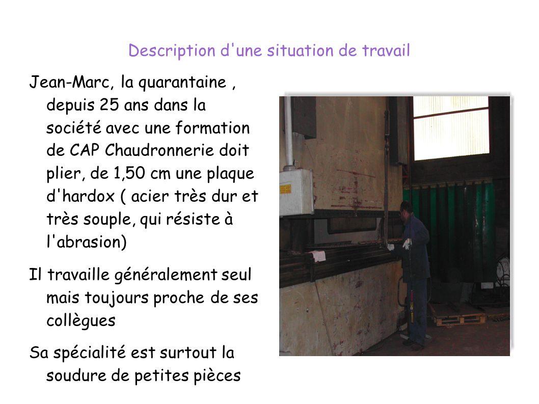 Description d'une situation de travail Jean-Marc, la quarantaine, depuis 25 ans dans la société avec une formation de CAP Chaudronnerie doit plier, de