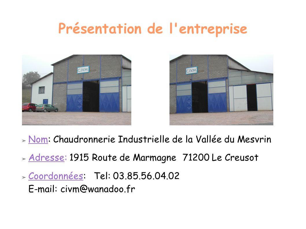 Présentation de l'entreprise ➢ Nom: Chaudronnerie Industrielle de la Vallée du Mesvrin ➢ Adresse: 1915 Route de Marmagne 71200 Le Creusot ➢ Coordonnée