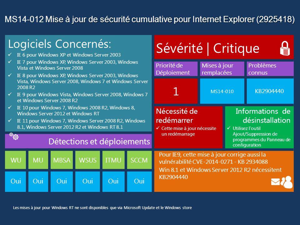 Mise à jour de sécurité cumulative pour Internet Explorer (2925418) MS14-012 Mise à jour de sécurité cumulative pour Internet Explorer (2925418) Détails des Vulnérabilités: Cette mise à jour de sécurité corrige une vulnérabilité révélée publiquement et dix-sept vulnérabilités signalées confidentiellement dans Internet Explorer.
