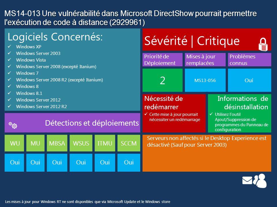 Une vulnérabilité dans Microsoft DirectShow pourrait permettre l exécution de code à distance (2929961) MS14-013 Une vulnérabilité dans Microsoft DirectShow pourrait permettre l exécution de code à distance (2929961) Détails des Vulnérabilités: Cette mise à jour de sécurité corrige une vulnérabilité signalée confidentiellement dans Microsoft Windows.