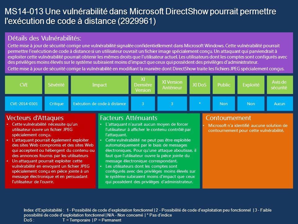 Malicious Software Removal Tool Mars 2014 Nouvelle famille de malware ajoutée à la signature MSRT de Mars 2014  Win32/Wysotot : Une famille de logiciels malveillants qui change la page de démarrage  Win32/Spacekito Une famille de logiciels malveillants qui télécharge et installe des Plugins Intrnet Explorer • Disponible en tant que mise à jour prioritaire sous Windows Update et Microsoft Update • Disponible par WSUS 3.x • Disponible en téléchargement à l adresse suivante : http://www.microsoft.com/france/securite/malwareremove http://www.microsoft.com/france/securite/malwareremove Autres Outils • Microsoft Safety Scanner • Windows Defender Offline