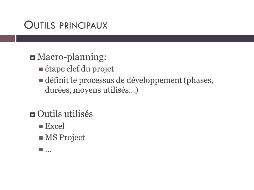  Macro-planning:  étape clef du projet  définit le processus de développement (phases, durées, moyens utilisés…)  Outils utilisés  Excel  MS Pro