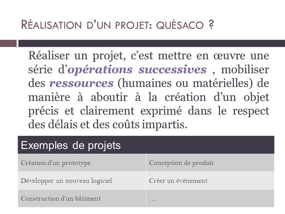 Réaliser un projet, c'est mettre en œuvre une série d'opérations successives, mobiliser des ressources (humaines ou matérielles) de manière à aboutir