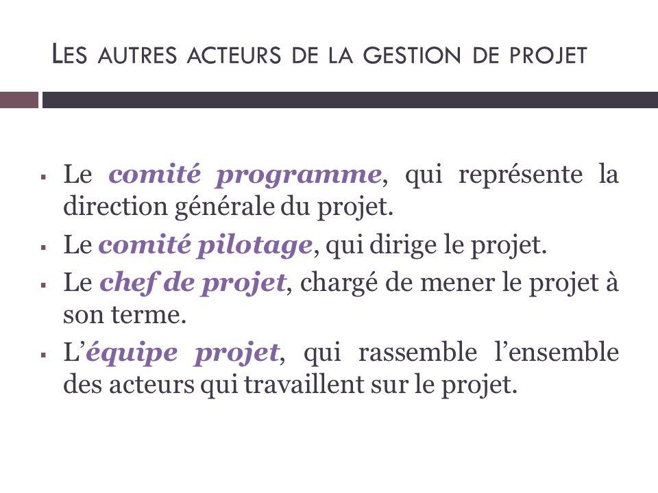 L ES AUTRES ACTEURS DE LA GESTION DE PROJET  Le comité programme, qui représente la direction générale du projet.  Le comité pilotage, qui dirige le