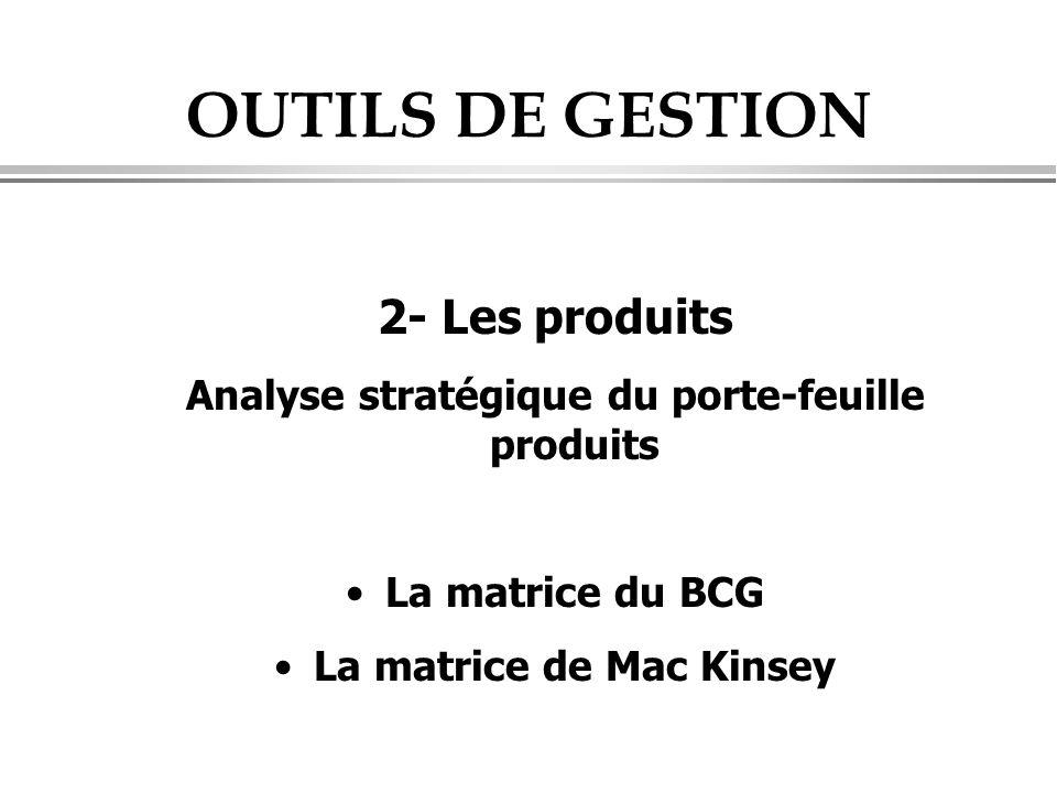 OUTILS DE GESTION 2- Les produits Analyse stratégique du porte-feuille produits •La matrice du BCG •La matrice de Mac Kinsey