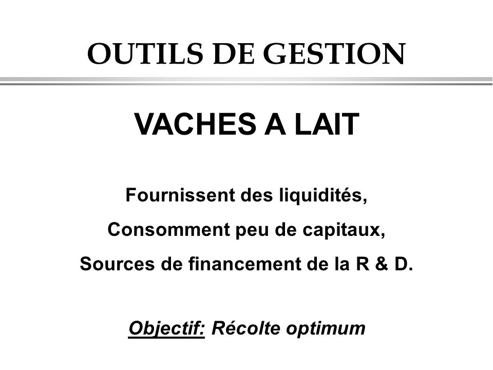 OUTILS DE GESTION VACHES A LAIT Fournissent des liquidités, Consomment peu de capitaux, Sources de financement de la R & D. Objectif: Récolte optimum