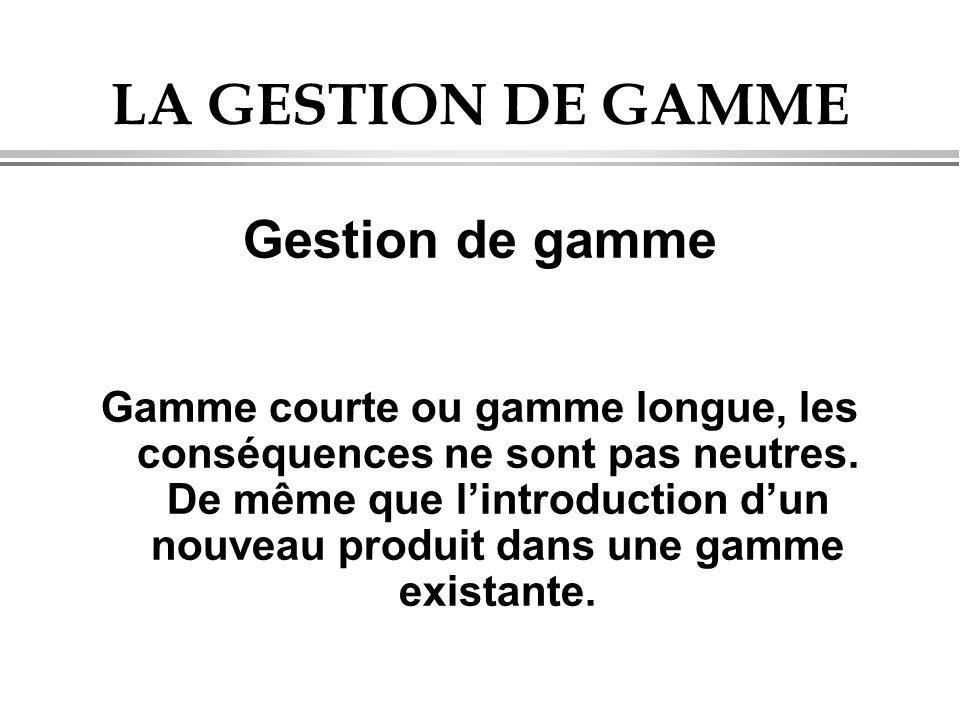 LA GESTION DE GAMME Gestion de gamme Gamme courte ou gamme longue, les conséquences ne sont pas neutres. De même que l'introduction d'un nouveau produ