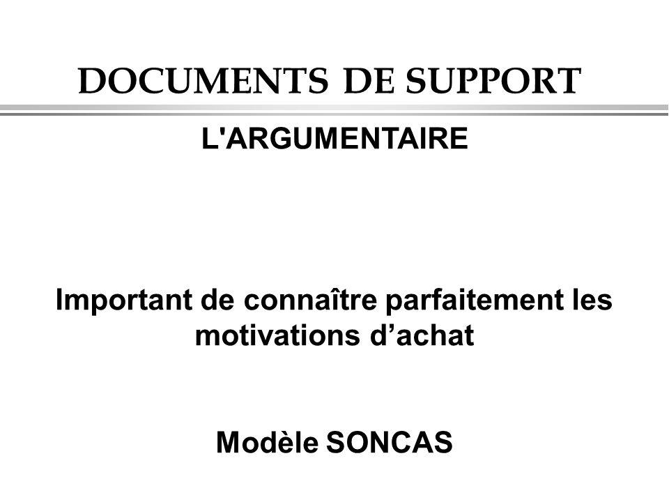 DOCUMENTS DE SUPPORT L'ARGUMENTAIRE Important de connaître parfaitement les motivations d'achat Modèle SONCAS