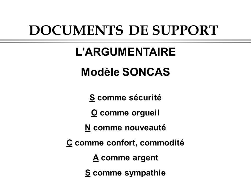 DOCUMENTS DE SUPPORT L ARGUMENTAIRE Modèle SONCAS S comme sécurité O comme orgueil N comme nouveauté C comme confort, commodité A comme argent S comme sympathie
