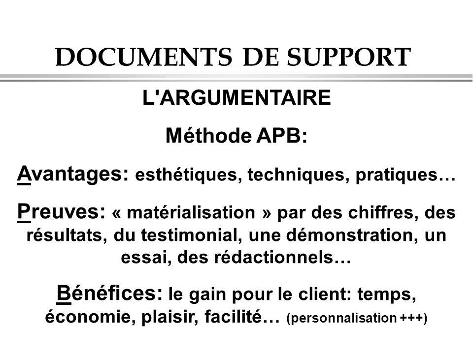 DOCUMENTS DE SUPPORT L'ARGUMENTAIRE Méthode APB: Avantages: esthétiques, techniques, pratiques… Preuves: « matérialisation » par des chiffres, des rés