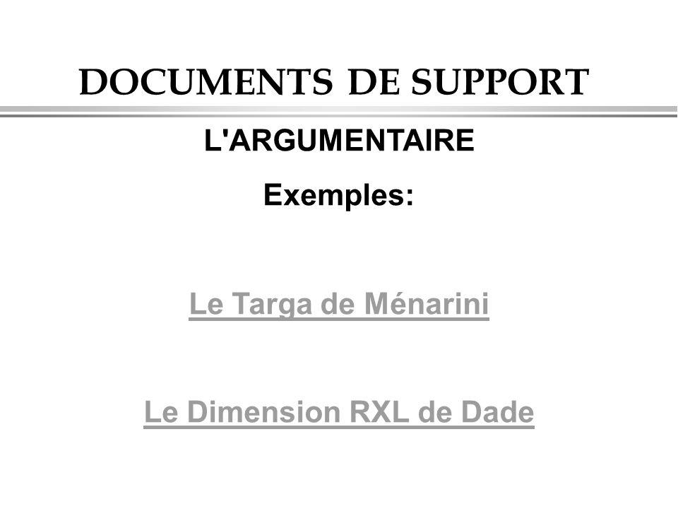 DOCUMENTS DE SUPPORT L ARGUMENTAIRE Exemples: Le Targa de Ménarini Le Dimension RXL de Dade