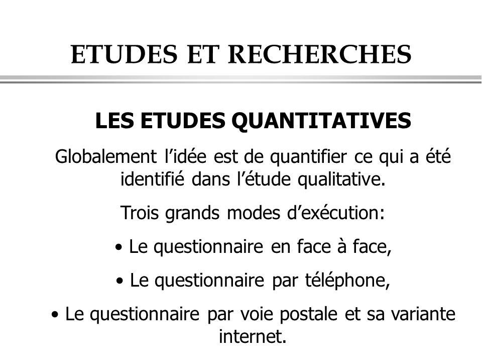 ETUDES ET RECHERCHES LES ETUDES QUANTITATIVES Globalement l'idée est de quantifier ce qui a été identifié dans l'étude qualitative. Trois grands modes