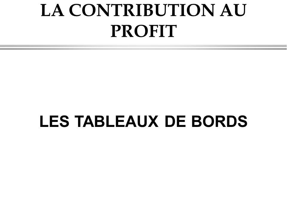 LA CONTRIBUTION AU PROFIT LES TABLEAUX DE BORDS
