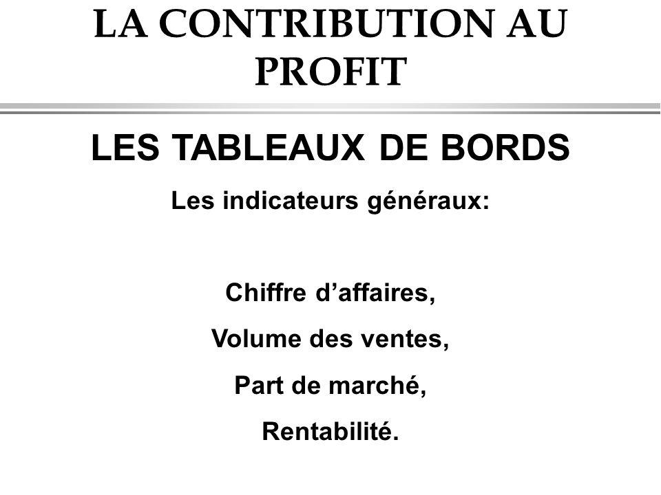 LA CONTRIBUTION AU PROFIT LES TABLEAUX DE BORDS Les indicateurs généraux: Chiffre d'affaires, Volume des ventes, Part de marché, Rentabilité.