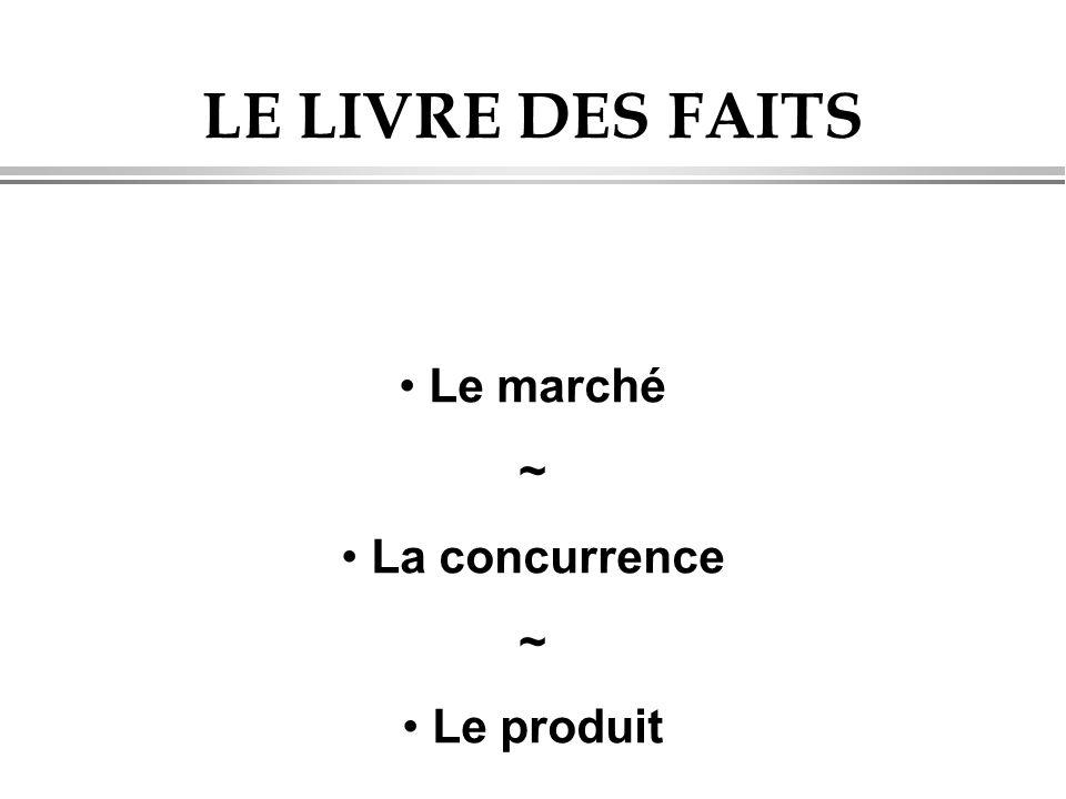 LE LIVRE DES FAITS • Le marché ~ • La concurrence ~ • Le produit