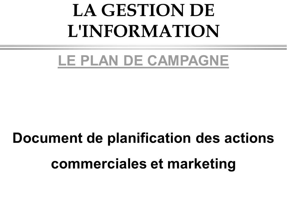 LA GESTION DE L'INFORMATION LE PLAN DE CAMPAGNE Document de planification des actions commerciales et marketing
