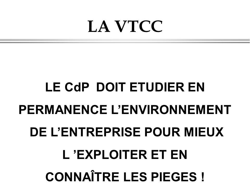 LA VTCC LE CdP DOIT ETUDIER EN PERMANENCE L'ENVIRONNEMENT DE L'ENTREPRISE POUR MIEUX L 'EXPLOITER ET EN CONNAÎTRE LES PIEGES !